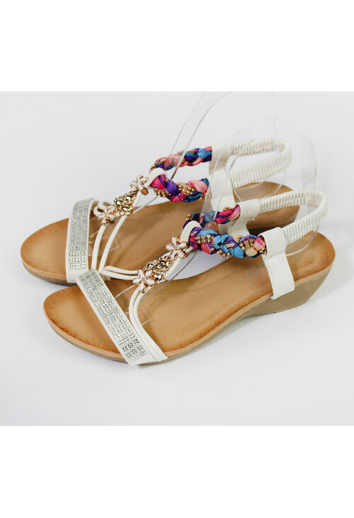Pamela Scott White strap & Diamante Wedge Sandal