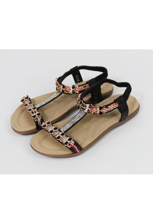 Pamela Scott Black Diamante Detail Sandals