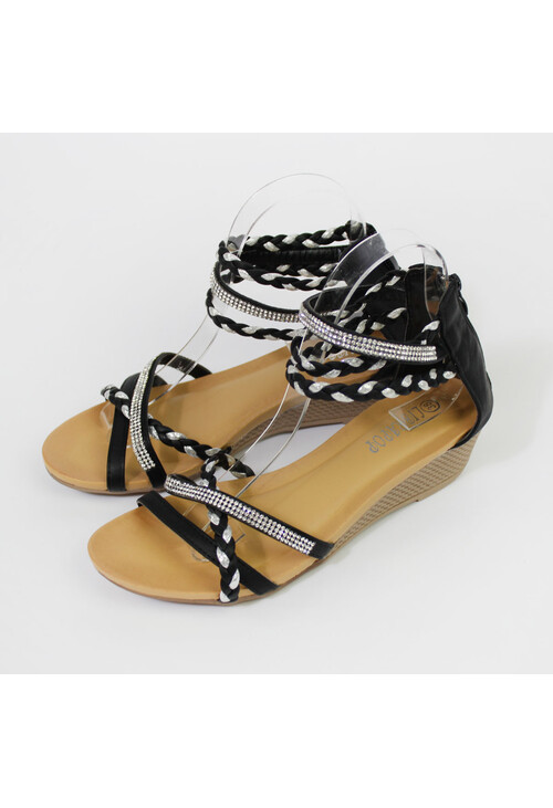 Pamela Scott Black & Silver Diamante Detail Wedge Sandal
