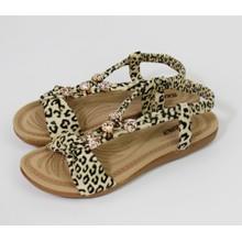 Pamela Scott Leopard Pattern Strap Sandals