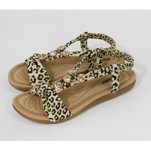 Pamela Scott Leopard Pattern Strap Sandals
