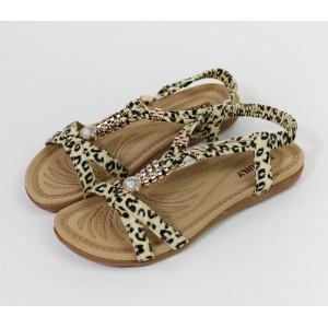 Pamela Scott Leopard Print Flat Sandal