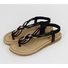 Pamela Scott Black Strap Gold Band Sandals