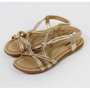 Pamela Scott Metallic Gold Flat Sandals