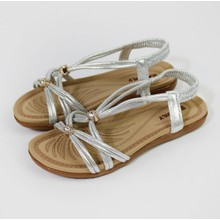 Pamela Scott Silver Metallic Strap Sandals