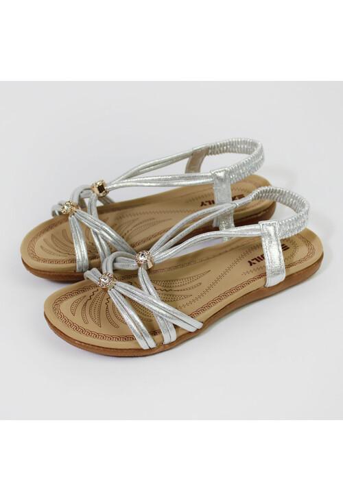 Shoe Lounge Silver Metallic Strap Sandals