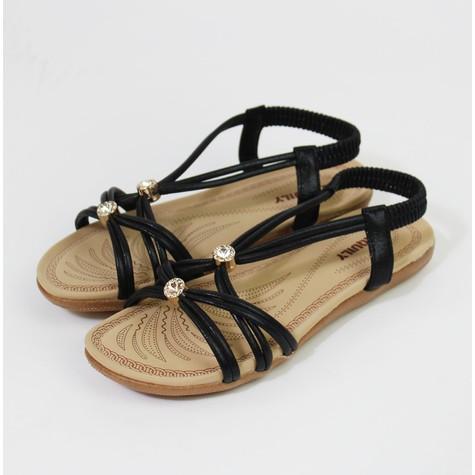 Pamela Scott Black Strap & Diamante Detail Sandals