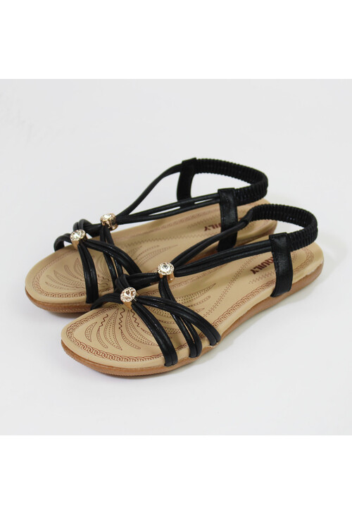 Pamela Scott Black Strap & Diamante Detail Sandals