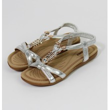 Pamela Scott Silver Metallic Strap & Gold Detail Sandals