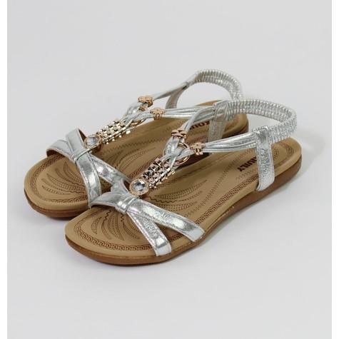 Pamela Scott Silver Metallic Strap & Gold Detail Sandals