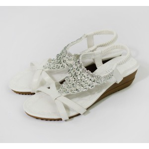 Pamela Scott White Diamante Wedge Sandal