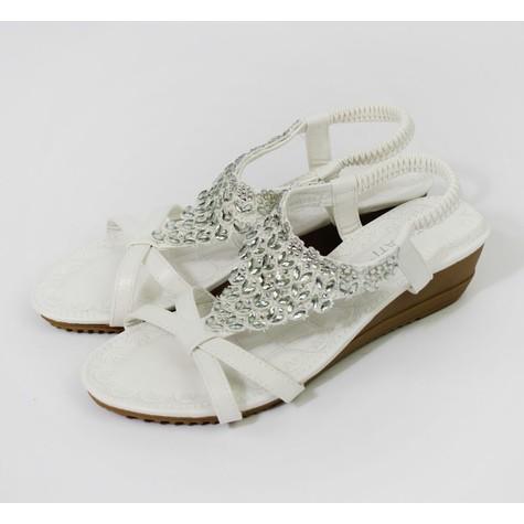 Pamela Scott White Diamante Wedge Sandal