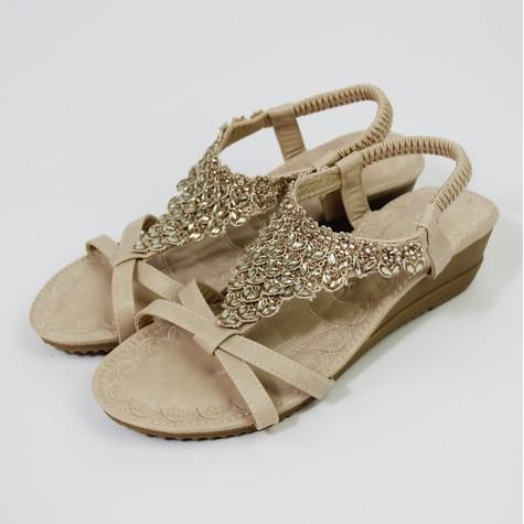 Pamela Scott Beige Diamante Detail Wedge Sandal