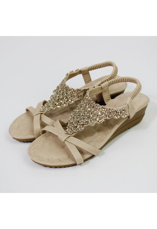 Pamela Scott Beige Diamante Detail Wedge Sandal