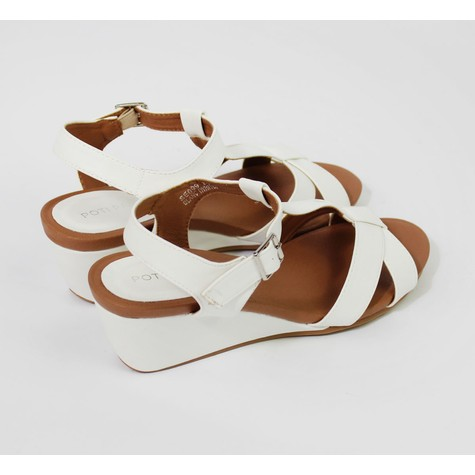 Pamela Scott White Ankle Strap Wedge Sandal