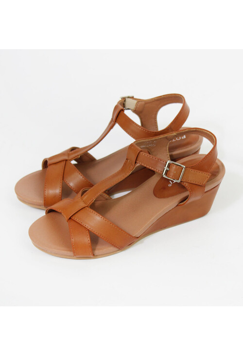 Pamela Scott Camel Ankle Strap Wedge Sandals