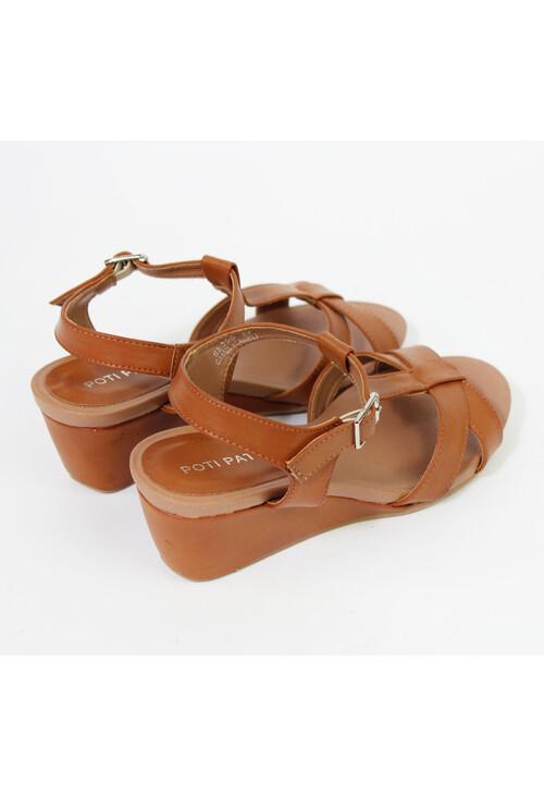 Pamela Scott Camel Ankle Strap Wedge Sandals