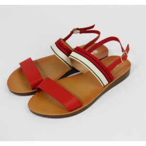 Pamela Scott Red Canvas Strap Sandals