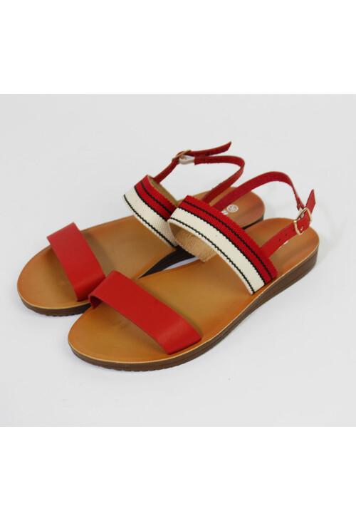 Pamela Scott Red Canvas Strap Sandals