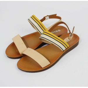 Pamela Scott Yellow & Cream Canvas Strap Sandals