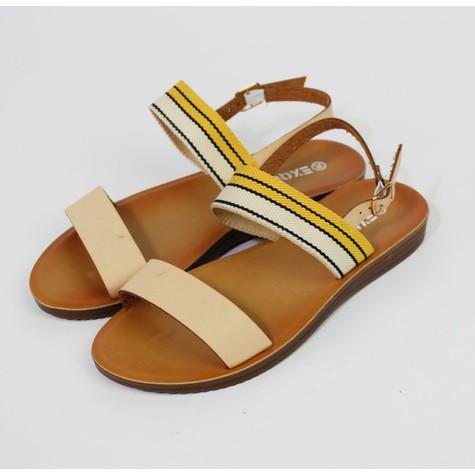 Pamela Scott Yellow & Cream Canvas Strap Sandals