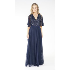 Maya NAVY V NECK TULLE DRESS