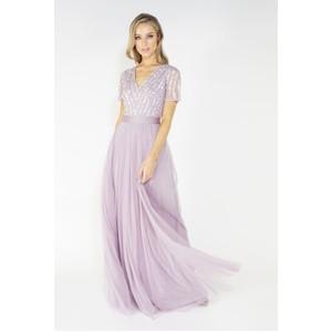Maya Lavender V Neck delicate sequins tulle dress