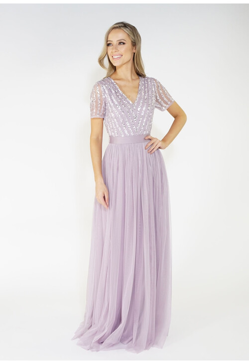 Maya Lavender V Neck delicate sequins tulle dress