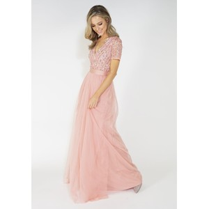 Maya Pink V Neck delicate sequins tulle dress
