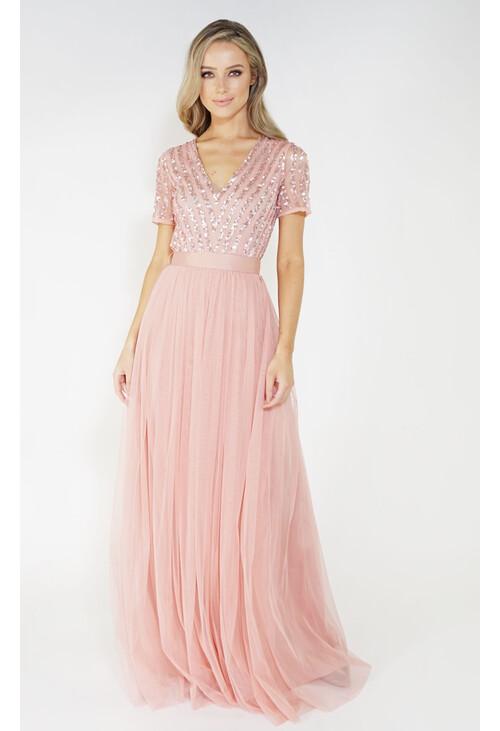Maya Pink V Neck delicate sequins tulle dress