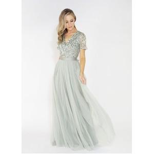 Maya Sage V Neck delicate sequins tulle dress