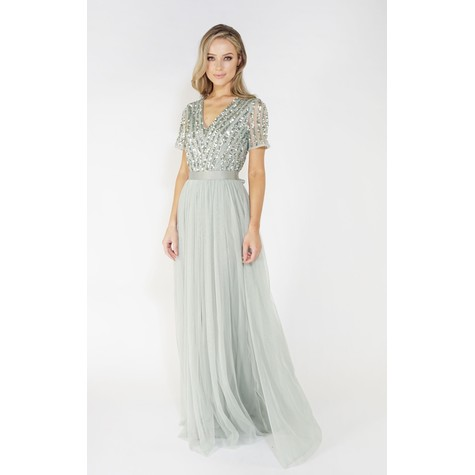 Maya Sage V Neck delicate sequins tulle dress