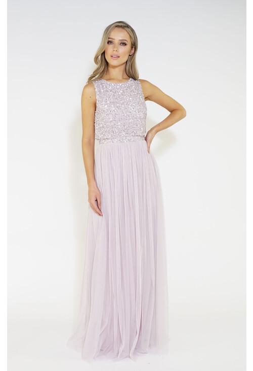 Maya Sequins overlay tulle dress