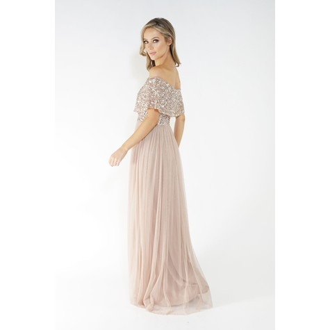 Maya Bardot style tulle dress with delicate sequins