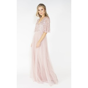 2ce3b6ed24 Maya Frosted Pink V Neck tulle dress with delicate sequin top