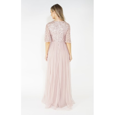 Maya Frosted Pink V Neck tulle dress with delicate sequin top