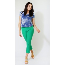 Zapara Blue & White Abstract Floral Print V-Neck Top