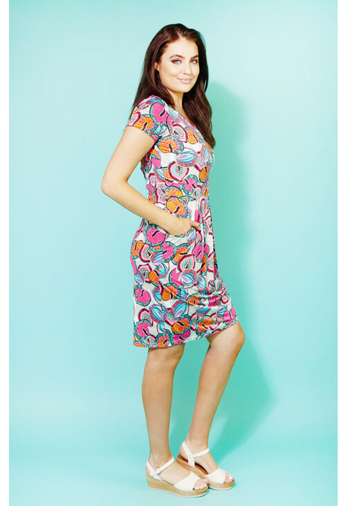 Zapara Pink Avalon Neon Print V-Neck Dress