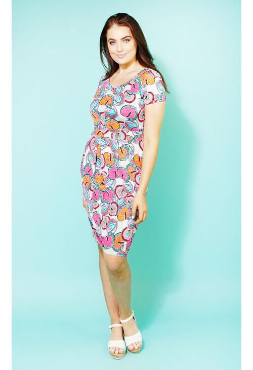 Zapara Pink Avalon Neon Print V-Neck Dress