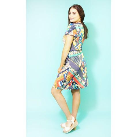 Zapara Multi-coloured Wrap Print Dress