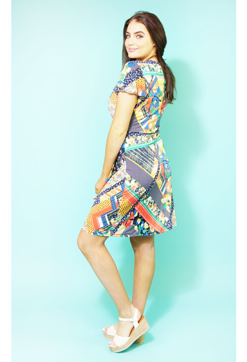 Zapara Multi-coloured Wrap Print Dress