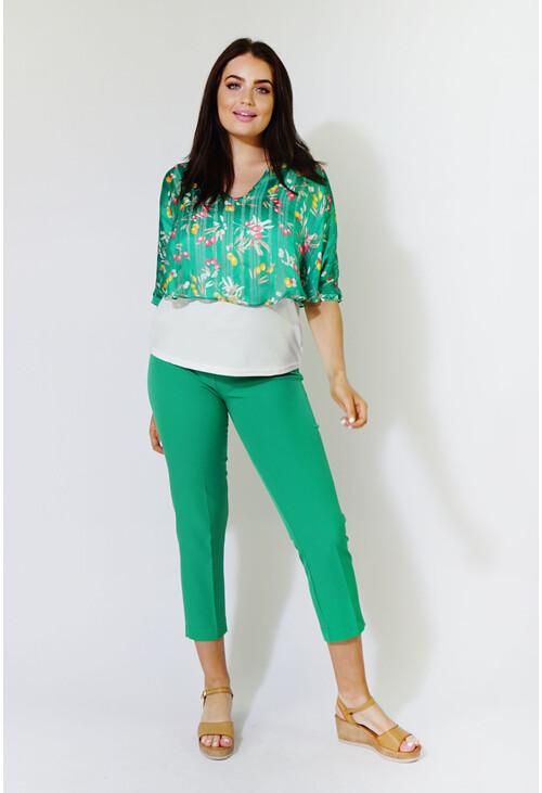 Zapara Green Chiffon Floral Print Top