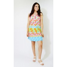Ronni Nicole Pink & Blue Pattern Print Dress