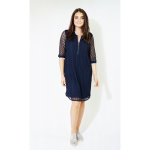 EFRO Navy Lace Zip Up Detail Dress