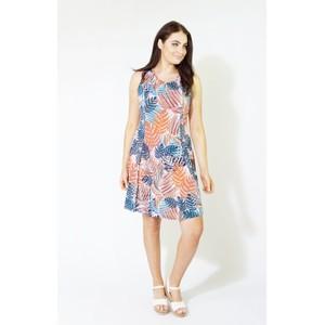 Zapara Coral & Navy Tropical Leaf Print Dress
