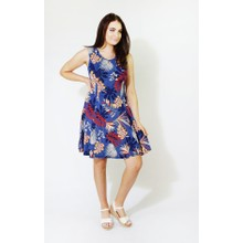 Zapara Navy & Orange Leaf Pattern Print Dress