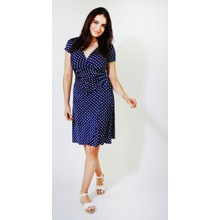 Zapara Navy White Polka Dot Wrap Dress