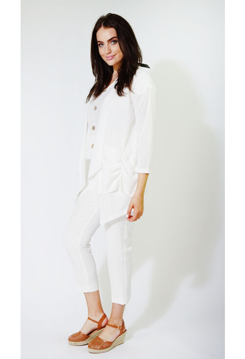 Sophie B Off White Light Rouched Knit