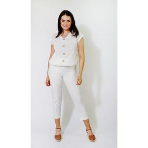 SophieB White Lurex Button Up Top