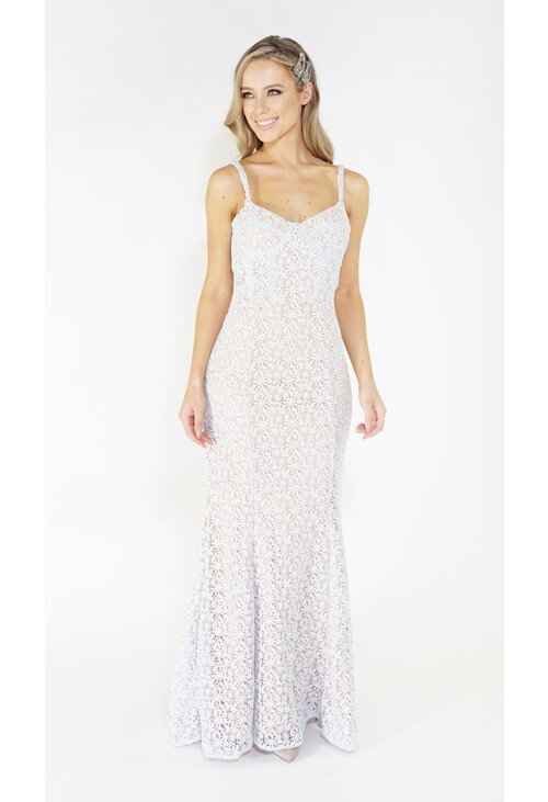 Jarlo Blue & Nude Lace Long Dress